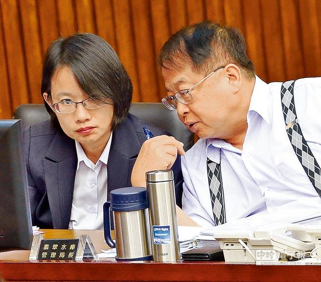 台北农产公司总经理吴音宁争议一箩筐,议员针对其适任问题炮火猛烈,吴音宁(左)与市场处处长许玄谋(右)不停地交换意见。